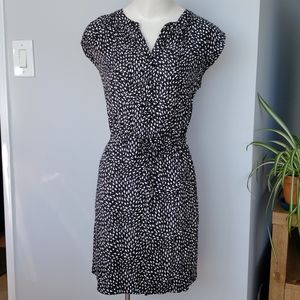LOFT black patterned midi dress